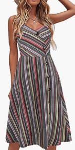 oxiuly Casual Dress for Women Sleeveless Cotton Summer Beach Dress A Line Spaghetti Strap Sundresses