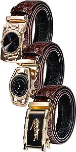 gold belt mens genuine leather belt automatic buckle ratchet leather black 35mm buckle wedding bee
