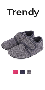 Comfort Boys Girls Wool House Slippers Kids Shoes with Adjustable Hook and Loop