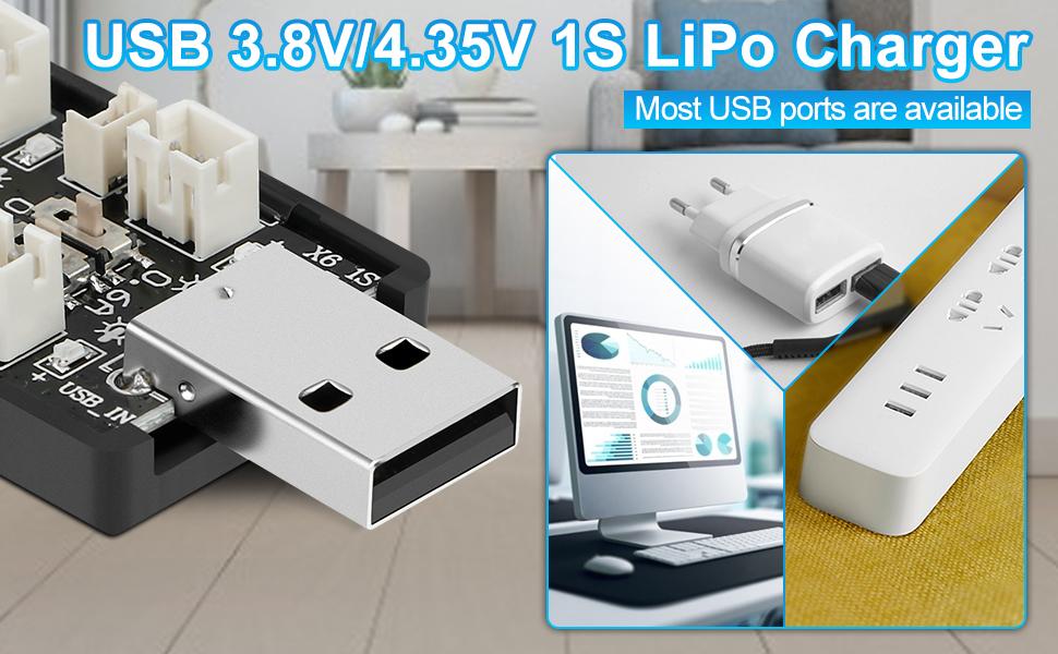 1S LiPo Battery USB 3.8V/4.35V