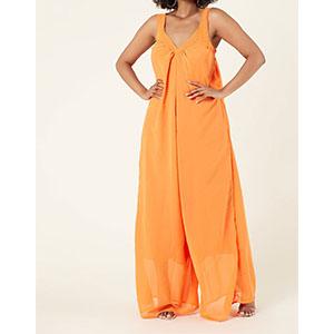 orange spaghetti strap loose jumpsuit