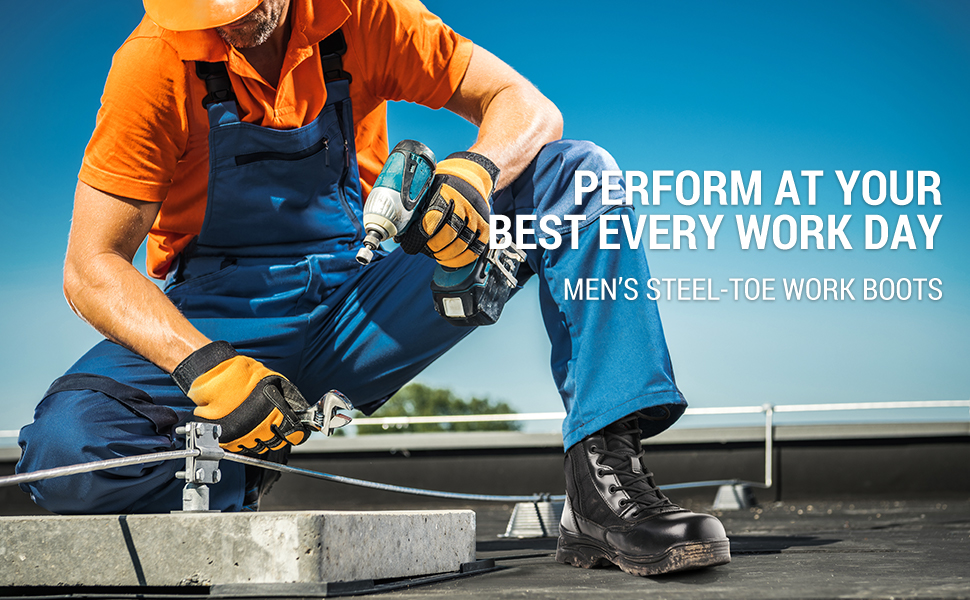 NORTIV 8 Mens Safety Steel Toe Work Boots