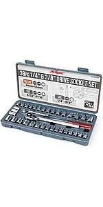 "Metric amp; SAE Socket Tool Set of 1/4"" amp; 3/8"" Drive Sockets"