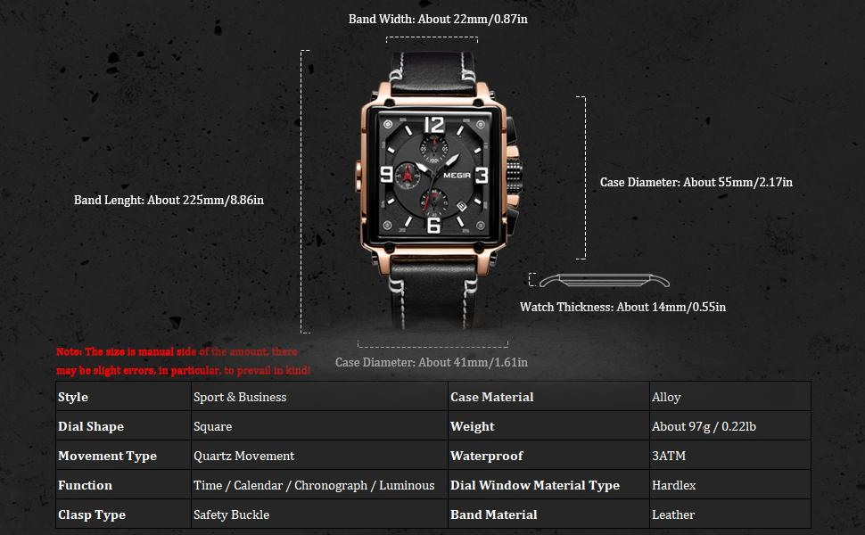 MEGIR Men Chronograph Square Quartz Watches