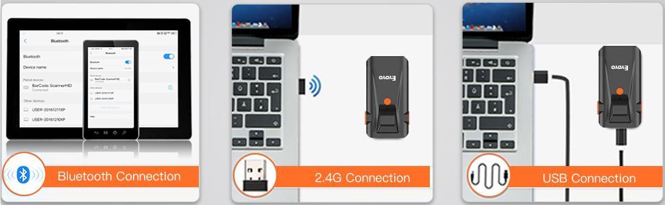 bluetooth 2.4G wireless usb wired barcode scanner