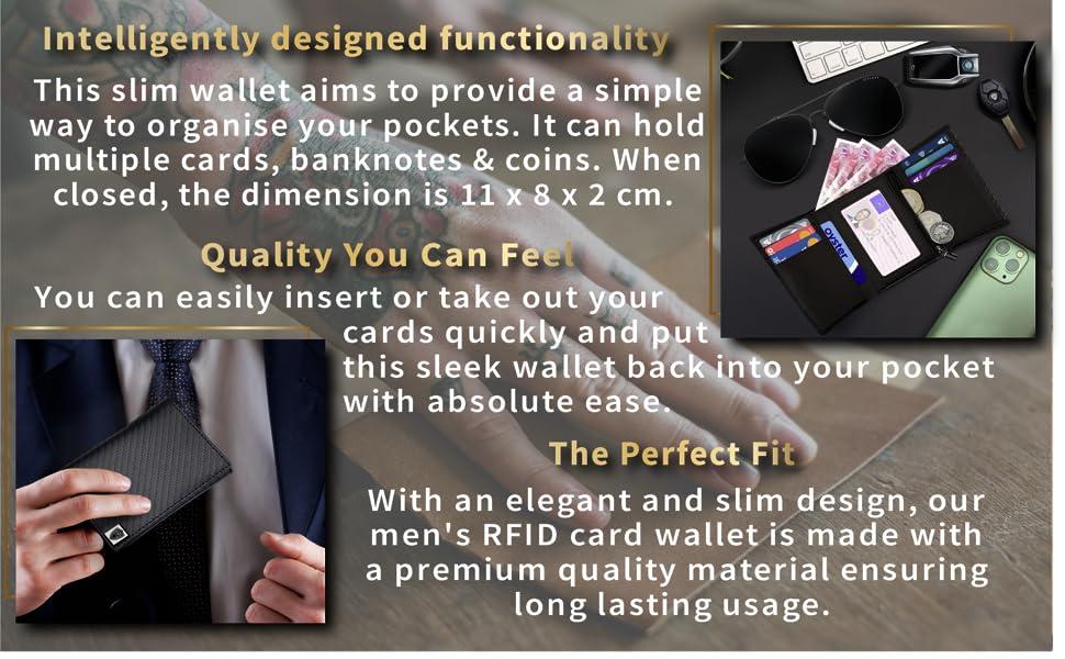 mens wallet RFID wallet credit card wallet minimalist wallet compact wallet carbon fibre wallet men