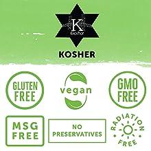 FreshJax is certified kosher, gluten free, vegan, gmo free, msg free, and radiation free