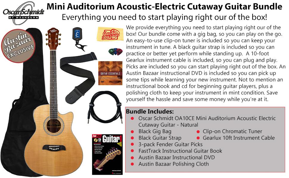 Mini Auditorium Acoustic-Electric Cutaway Guitar Bundle