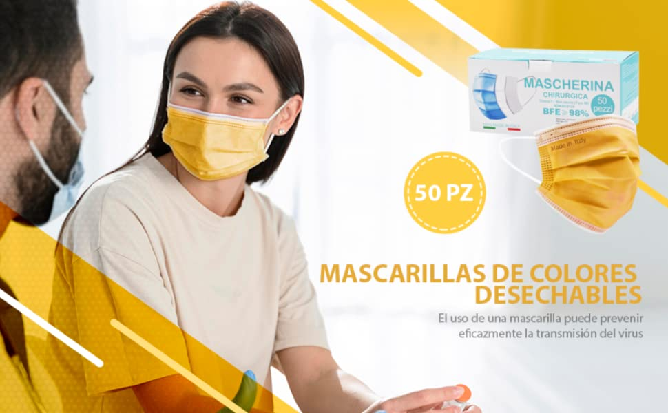 MASCARILLAS DE COLORES DESECHABLES