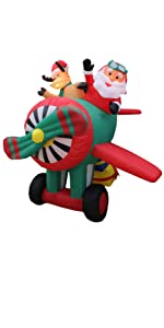 6 Foot Long Animated Christmas Inflatable Santa Claus and Reindeer on Airplane
