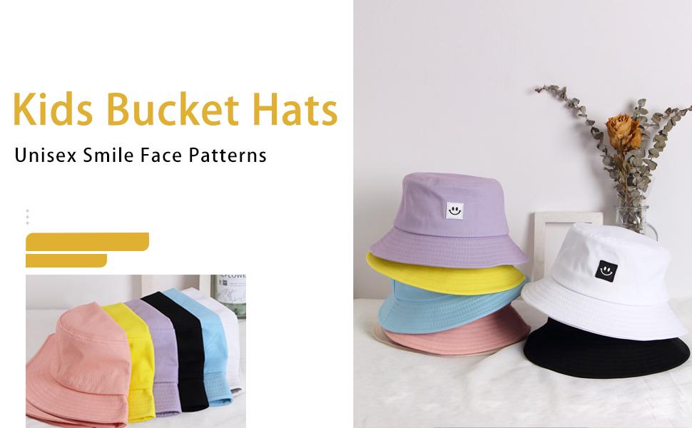 kids sun hat bucket hats girls boys beach Summer Cap Unisex children  Cotton Smile Face
