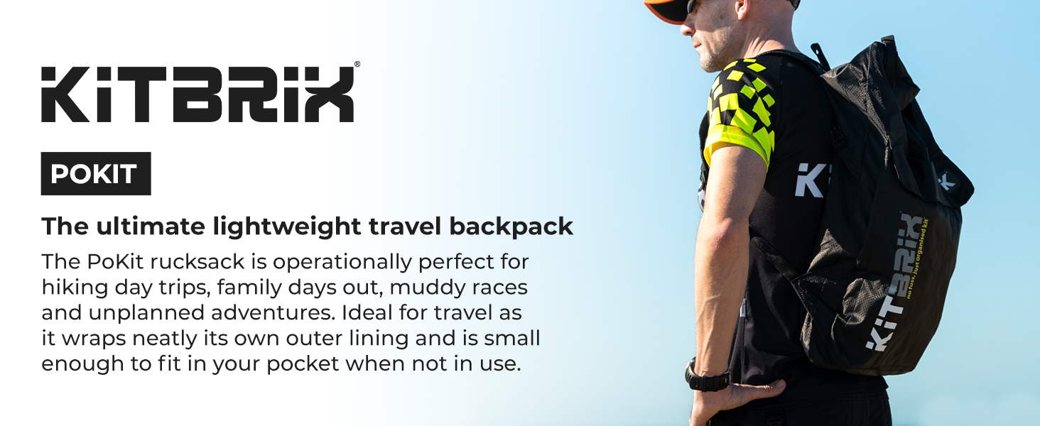 KitBrix Pokit Hiking Daypack Foldable Waterproof Backpack Rucksack 25 litres - Black/Blue