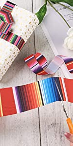 Fiesta Ribbon Mexican Serape Ribbon Colorful Rainbow Stripe Grosgrain Ribbon 25mm 60mm