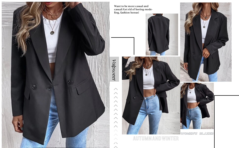 Womens Blazers Casual Open Front Long Sleeve Lapel Solid Button Work Office Business Blazer Jacket