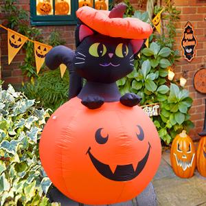 Lighted Inflatable Pumpkin Cat