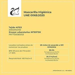 mascarilla protectora higiénica quirúrgica ffp2 reutilizable reusable tela homologado certificado