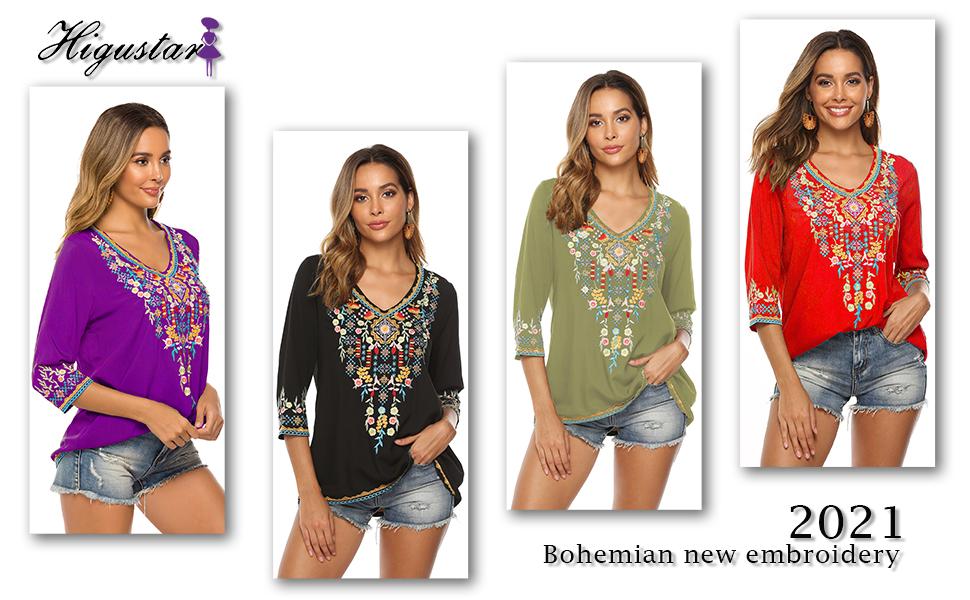 Bohemian retro embroidery ethnic shirt