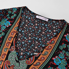 This maxi dress features casual short flare sleeves, and vibrant color block floral print.