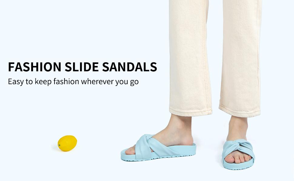 Women's slides,Summer Fashion Cute Bow Knot Outdoor/House Slippers,Arch Support Flat Slide Sandals