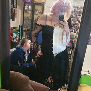 1708 black white corset with sleeve