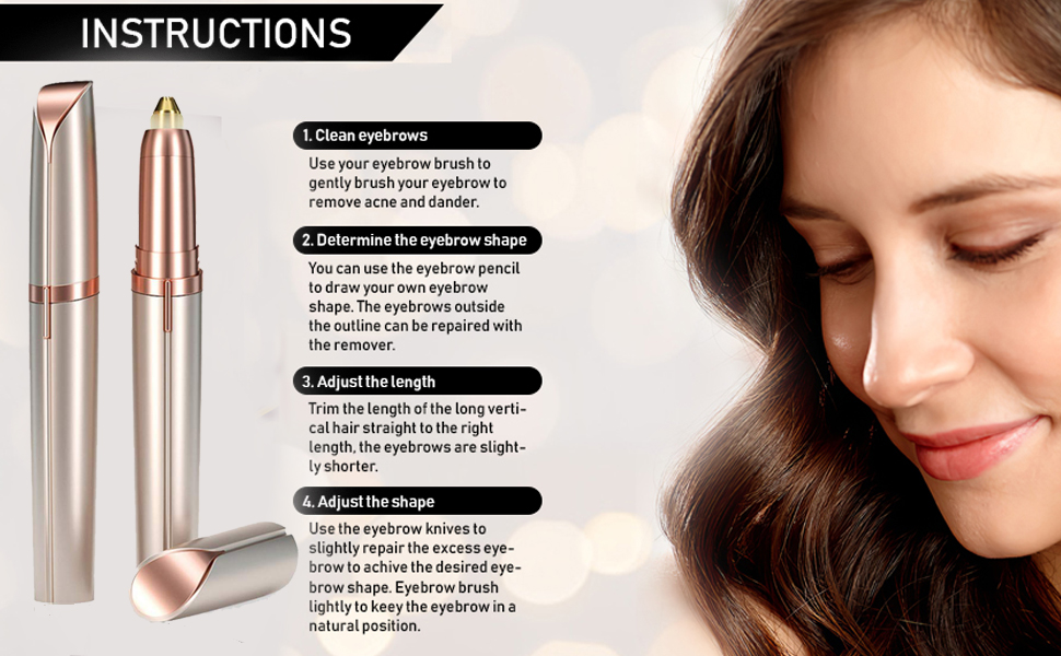 1. Designed to trim eyebrows, it helps you maintain perfect eyebrows. 2. Painless, effective,a