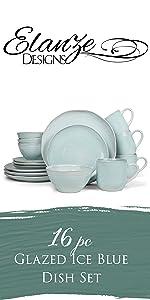 Glazed ice blue 16 piece dish set