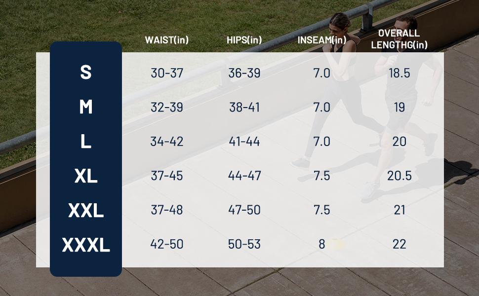 Mens running short size chart