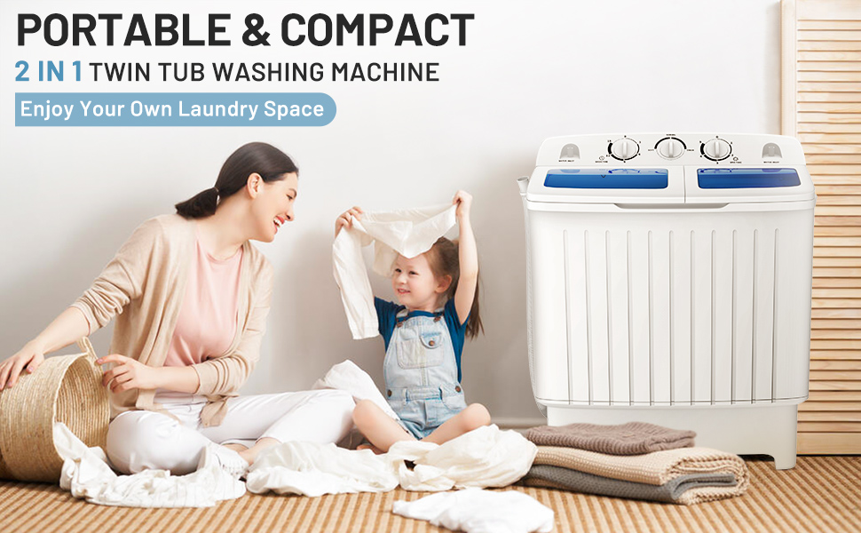 ARLIME Portable Mini Twin Tub Washing Machine