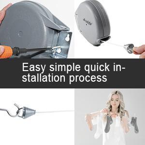 Corde à linge portable à fixation murale facile