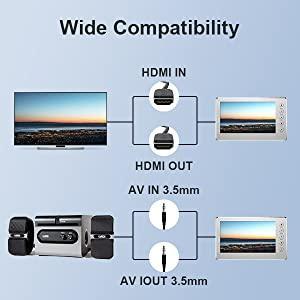 HD 1080P 60FPS USB 2.0 a digitale da video con schermo OLED da 5 videoregistratore AV e HDMI Acquisizione da VCR Hi8,videocamere DVD Video Grabber Acquisizione Video sistemi di gioco nastriVHS