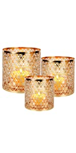Champagne Gold Diamond Candle Holder