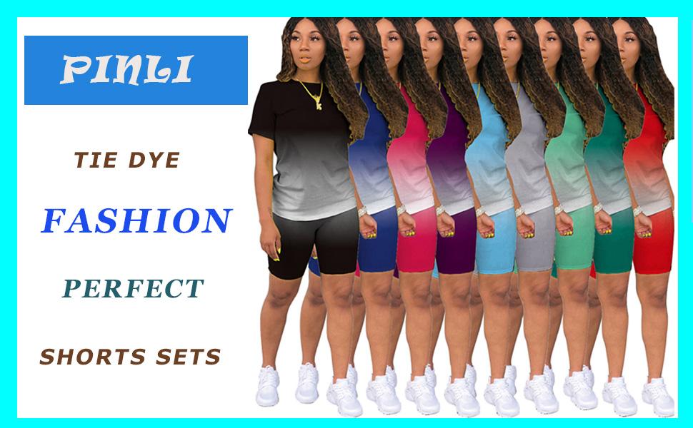 PINLI Tie Dye  Women's 2 Piece Shorts Sets Casual Gradient Solid Color Classic Fashion Sportswear