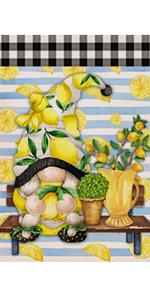 Hzppyz Summer Lemon Gnome Garden Flag