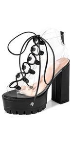 transparent platform high heel peep toe sandals
