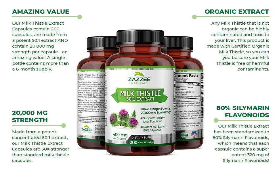 Amazing Value, Organic Extract, 20,000 Mg Strength, 80% Silymarin Flavonoids.