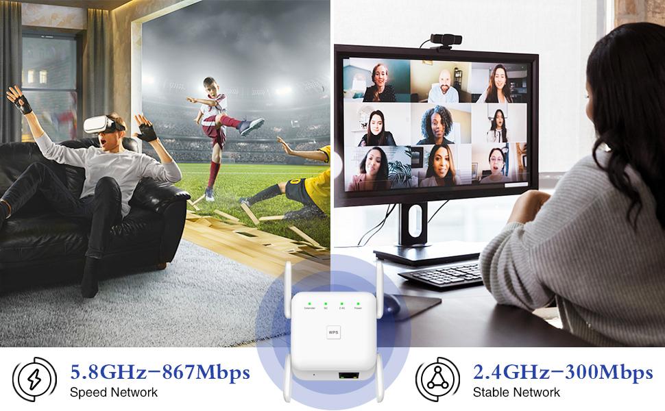2.4G & 5.8G Dual Band WiFi Extender