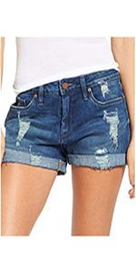 luvamia Womenamp;amp;amp;#39;s Ripped Denim Jean Shorts Mid Rise Stretchy Folded Hem Short Jeans