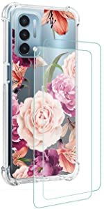 Osophter for Moto G Stylus 5G Case with Screen Protector Flower(Purple Flower)