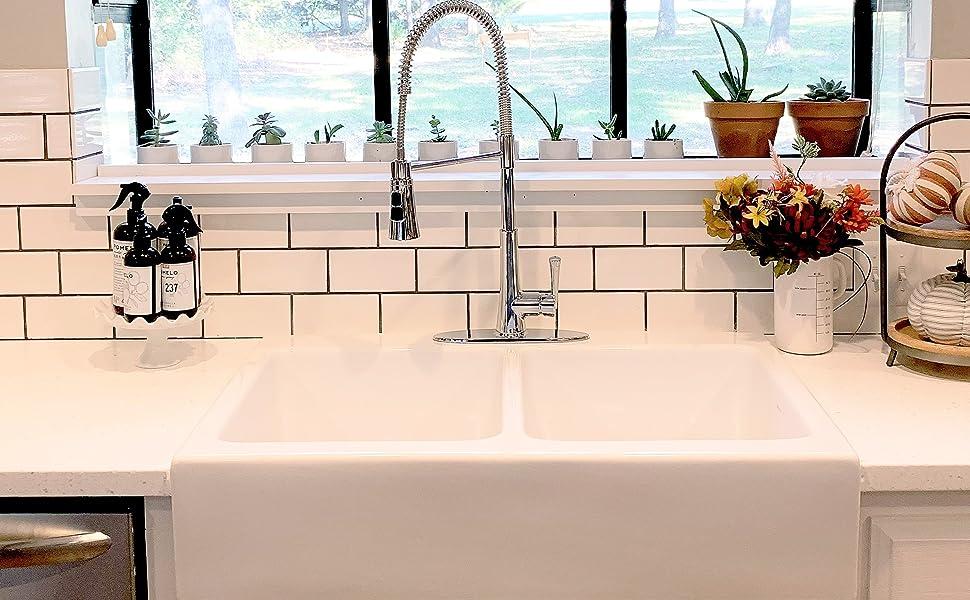 parker, double bowl sink, farmhouse sink, kitchen sink, white sink, fireclay sink