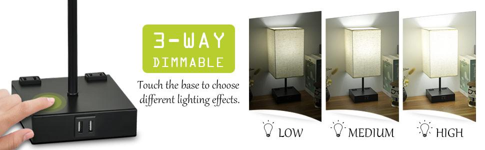 3-way dimmable usb bedside lamp