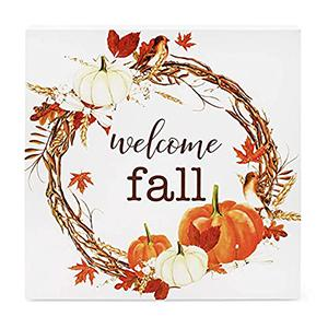 autumn theme wooden block signs welcome fall feature detail