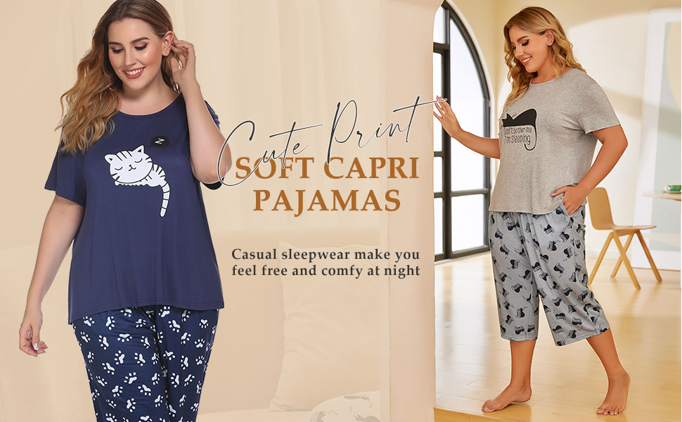 plus size capri pajama set