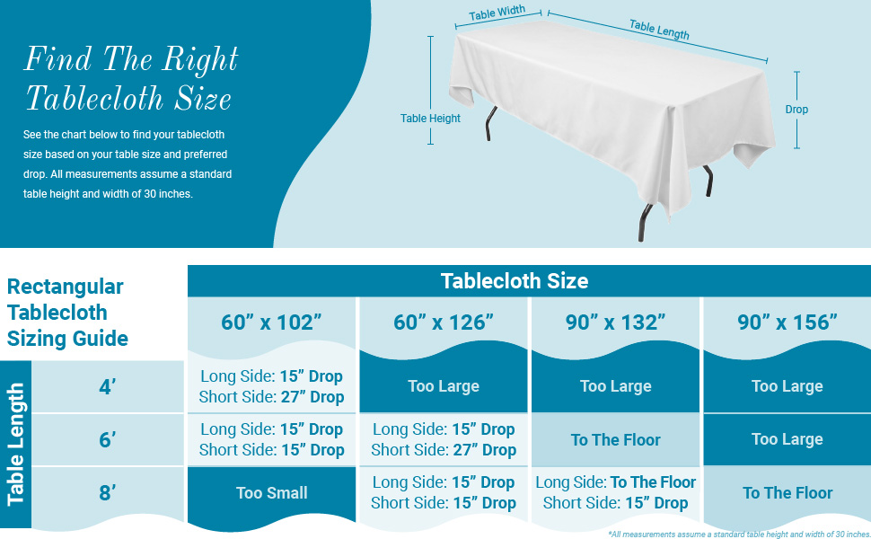 Rectangular tablecloth sizing guide