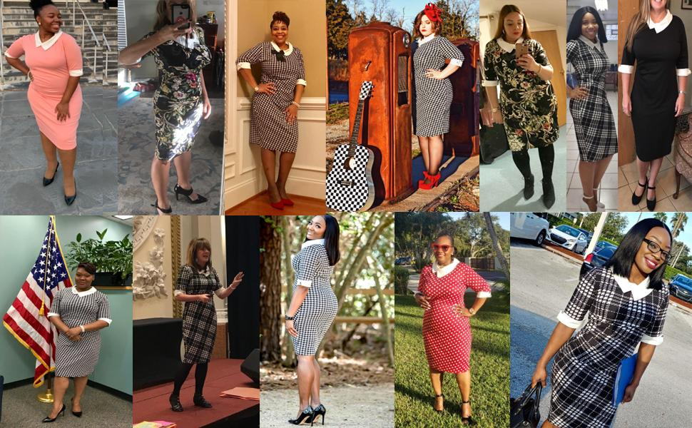 women's vintage pencil dress sheath dresses knee length work dress peter pan collar vintage dress
