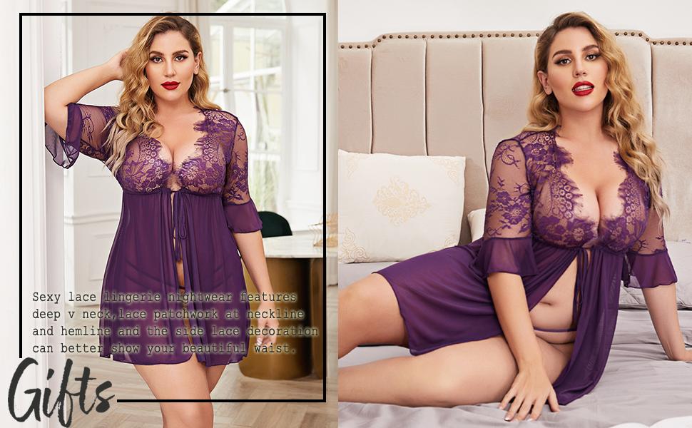 women plus size robe lingerie for nightwear