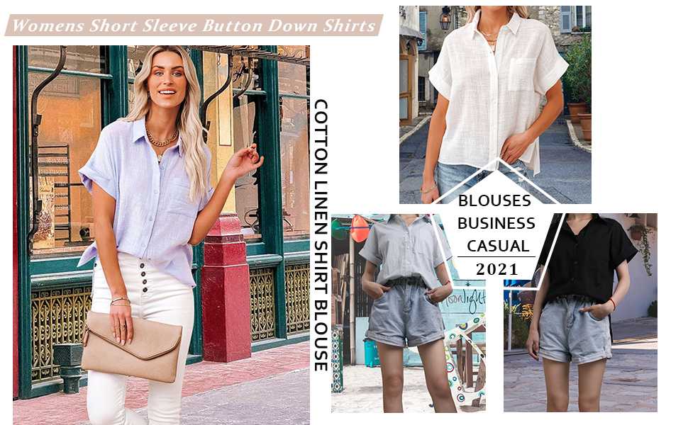 Womens Short Sleeve Button Down Cotton Linen Shirts Blouse Loose Fit Casual Summer Tops