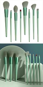 Green makeup brushes