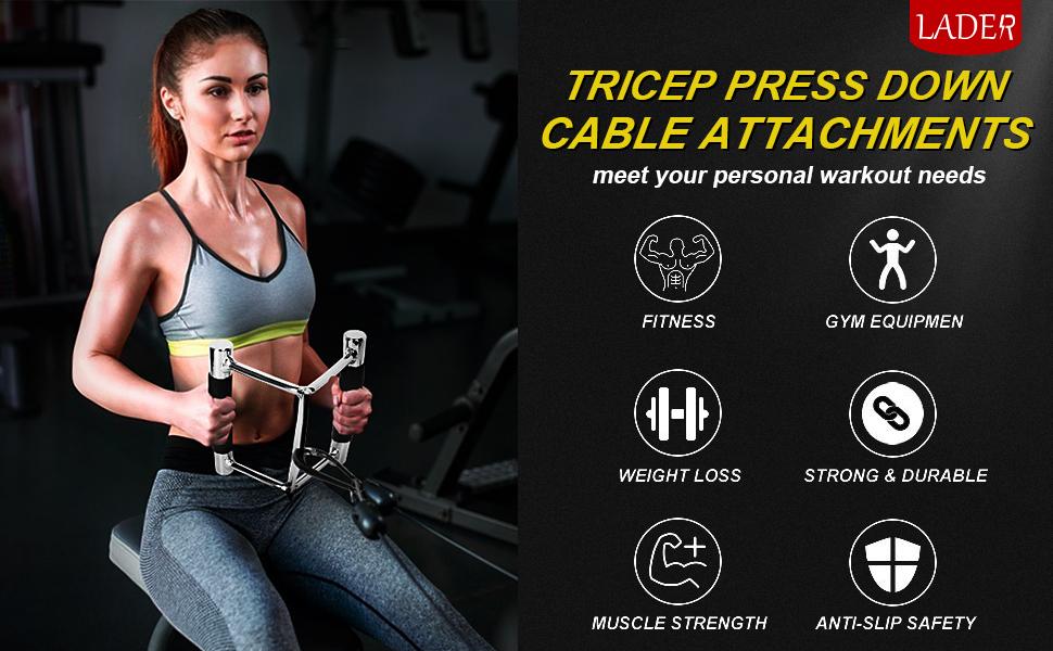 Tricep Press Down Cable Machine Attachments