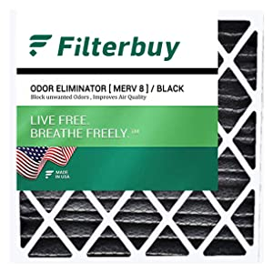 filterbuy merv 8 odor eliminator pleated replacement air filter for hvac ac furnace square
