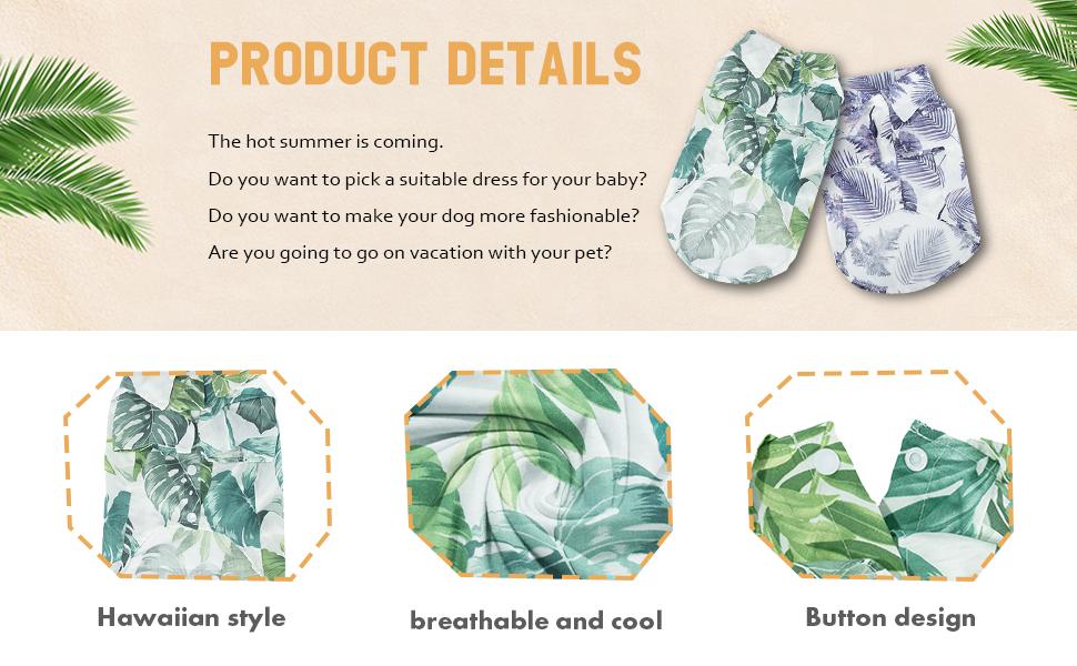 Hawaiian pet shirt product details